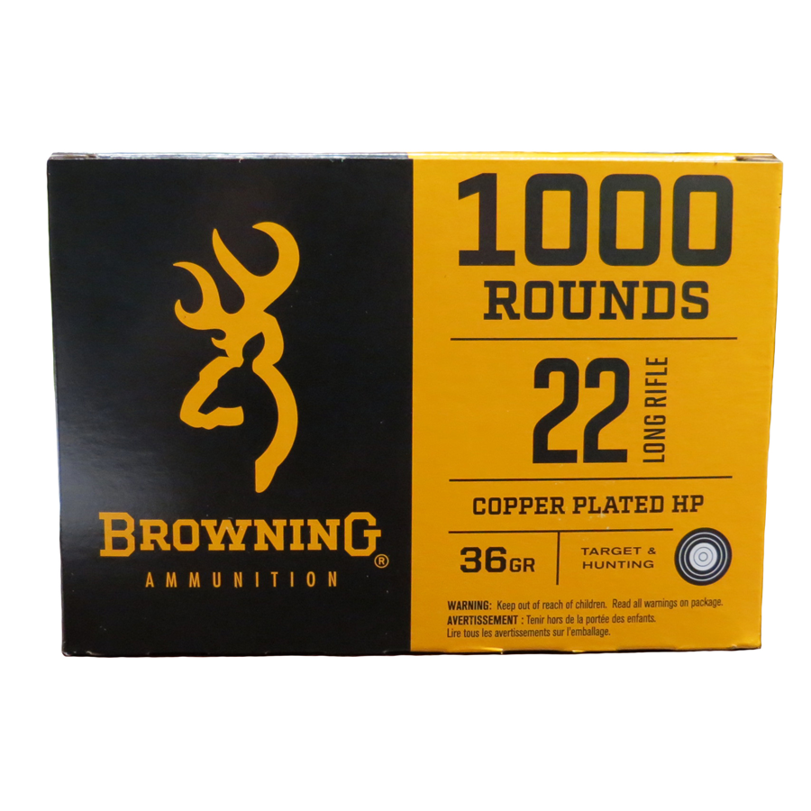 Browning .22 LR Copper Plated HP 36 Gr - 1000 Rounds