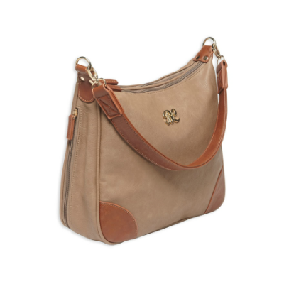 Bulldog Concealed Carry Purse - Hobo Style Taupe-Tan Trim