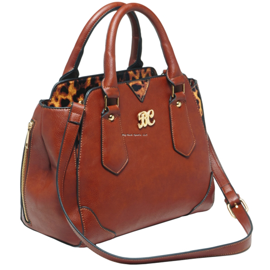 Bulldog Concealed Carry Purse Chestnut/Leopard Satchel