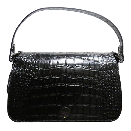 Concealed Carrie Black Crocodile Print Leather Shoulder Clutch