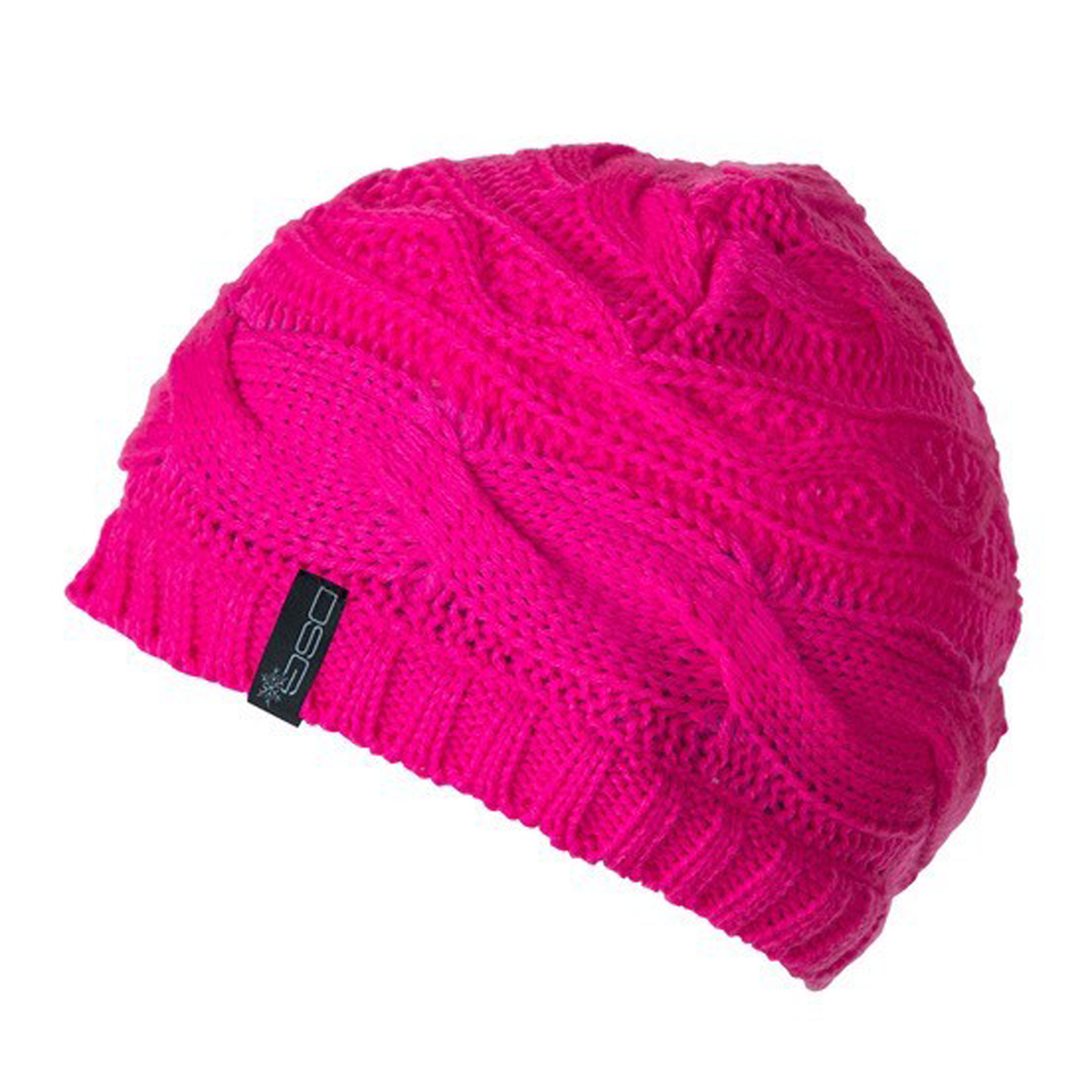 DSG Womens Blaze Pink Beanie - Cable Knit