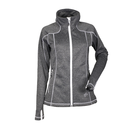 DSG Womens Performance Fleece Jacket Black Heather/White DISCONTINUED
