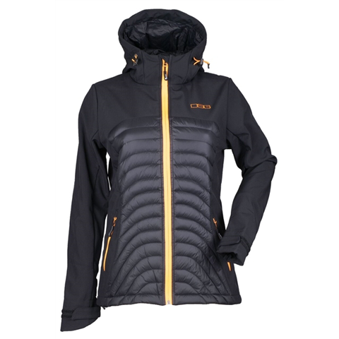DSG Womens Softshell Jacket Black/Orange Peel