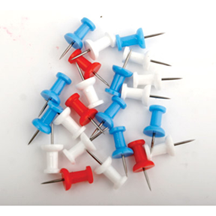 PLASTIC PUSH PINS ASSORTED RED WHITE & BLUE