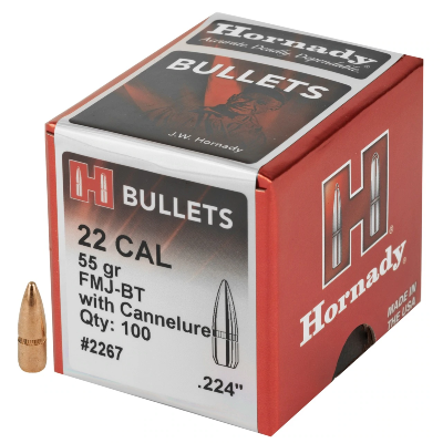 Hornady Rifle Bullets - 22/.224 55 Gr FMJBT = OUT OF STOCK
