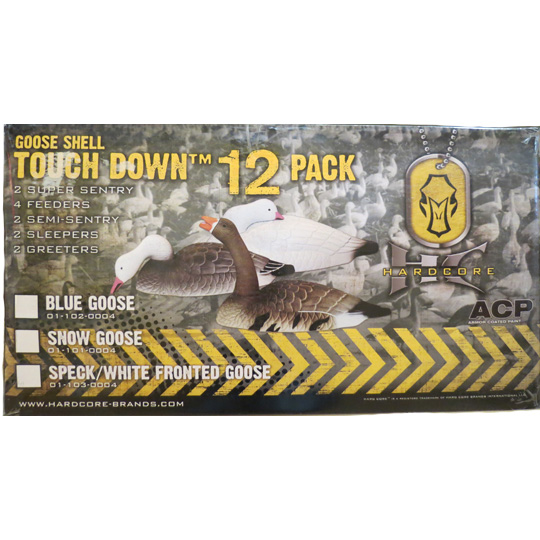 HARDCORE TOUCH DOWN SNOW GOOSE DECOYS - 12 PACK