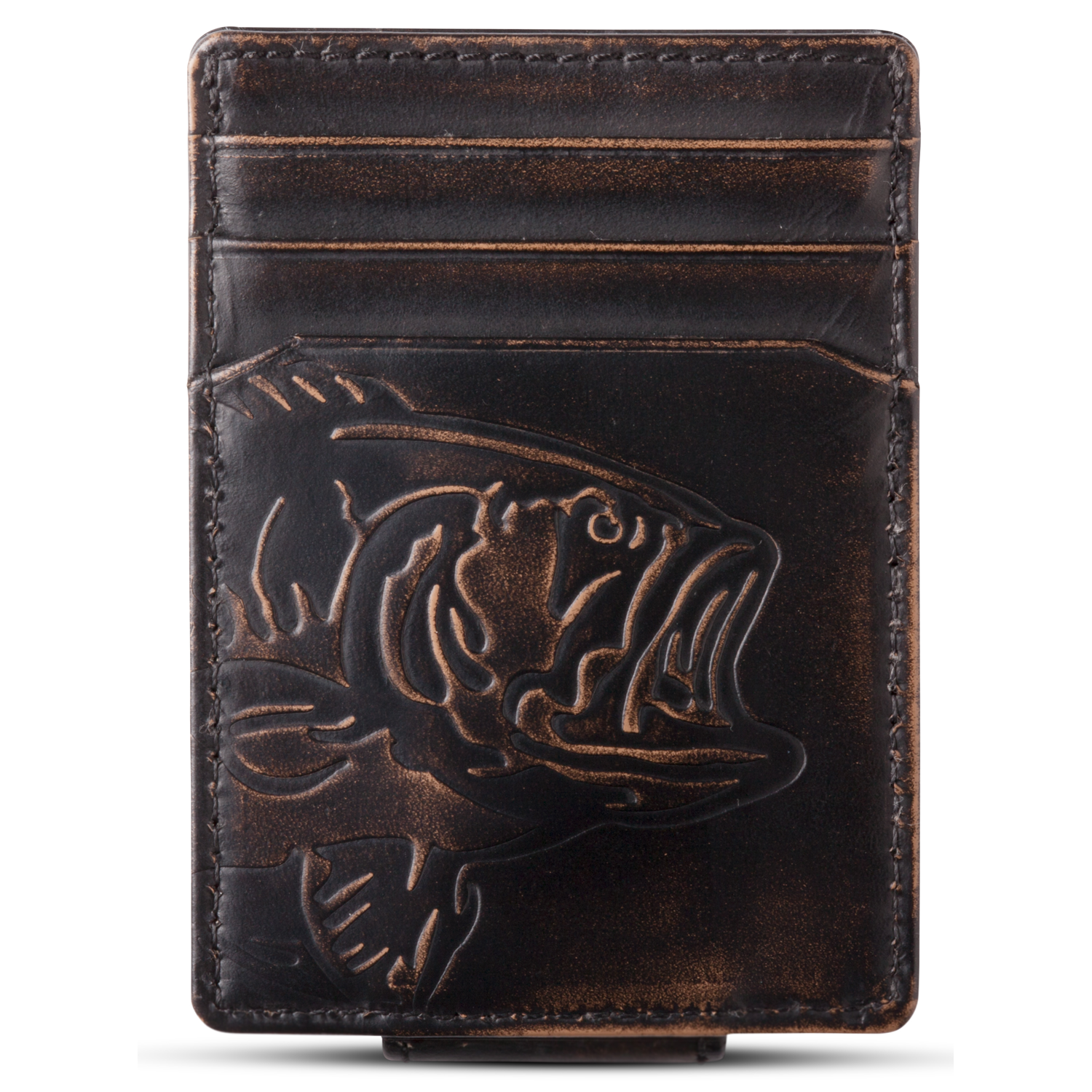 Bass Fish Magnetic Front Pocket Wallet in Black