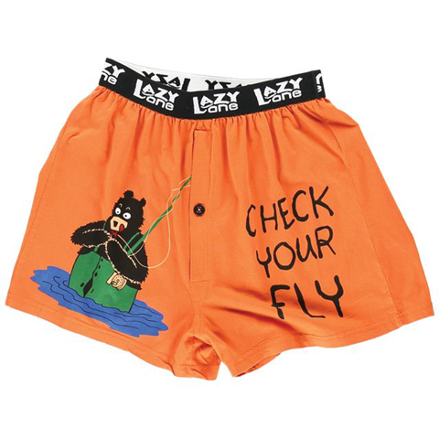 Lazy One Men's Check Your Fly Bear Comical Boxer