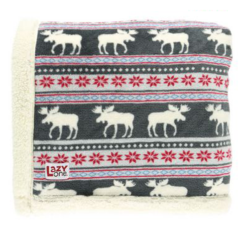 Lazy One Moose Fair Isle Sherpa Throw Blanket