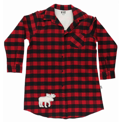 Lazy One Flannel Plaid Moose Button Down Nightshirt