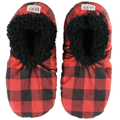 Lazy One Adult Moose Plaid Fuzzy Feet Slippers