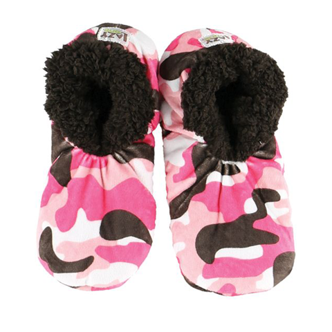 Lazy One Adult Pink Camo Deer Fuzzy Feet Slippers