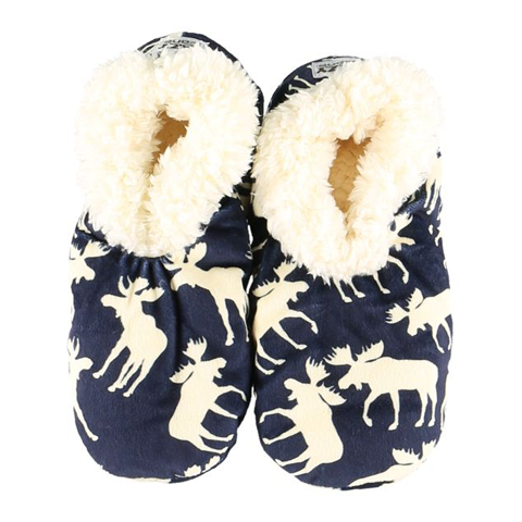 Lazy One Adult Blue Classic Moose Fuzzy Feet Slippers