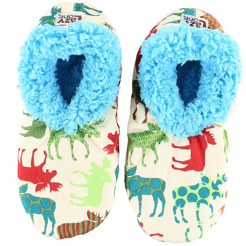 Lazy One Adult Pattern Moose Fuzzy Feet Slippers