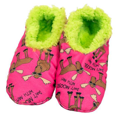 Lazy One Don't Moose With Me KID Fuzzy Feet Slippers