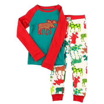 Lazy One Patterned Moose Kid PJ Set