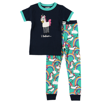 Lazy One Unicorn Kid PJ Set