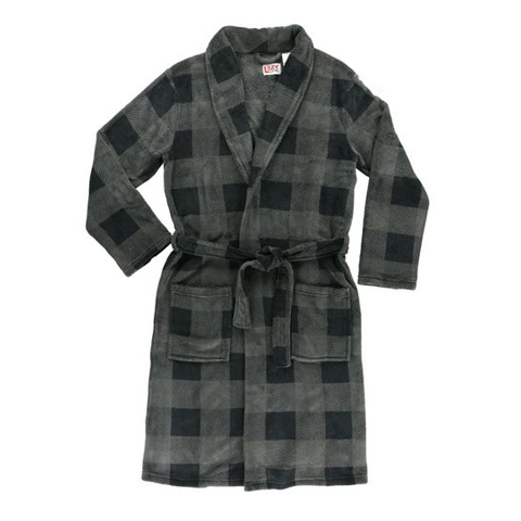 Lazy Ones Mens Grey Plaid Bathrobe