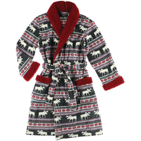 Lazy One Moose Fair Isle Womens Bathrobe