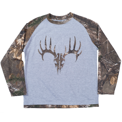 Buck Wear Camo Skull Youth Long Sleeve