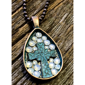 Pretty Hunter Copper & Opal Turquoise Cross Necklace
