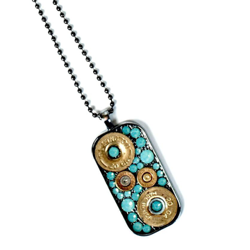 Pretty Hunter Bullets & Turquoise Dog Tag Necklace