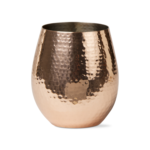 Hammered Copper Stemless Wine Glass