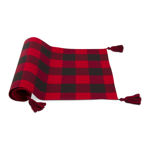 Buffalo Check Table Runner with Tassels