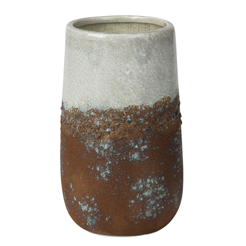 Distressed Vase Tall  Rust Blue