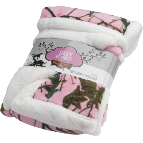 Trailcrest Plush Fleece Pink Camo Baby Blanket
