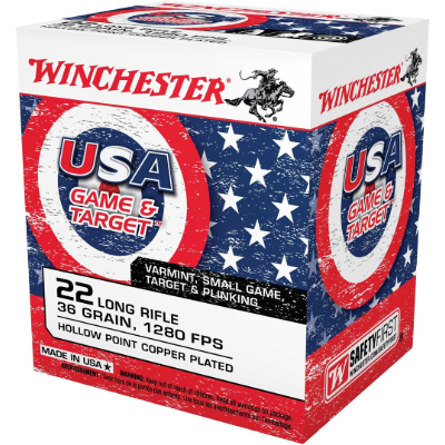 Winchester USA .22 LR Copper Plated HP 36 Grain - 500 Rounds