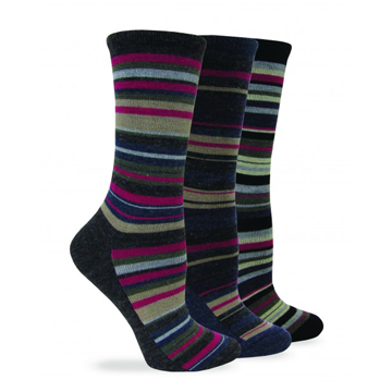 Wise Blend Womens Large Stripe Crew Sock