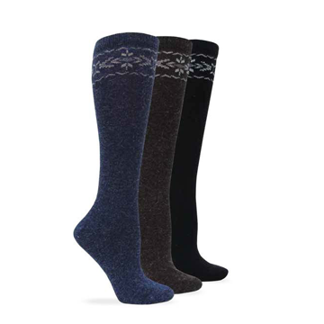 Wise Blend Womens Angora Flower Knee High Sock