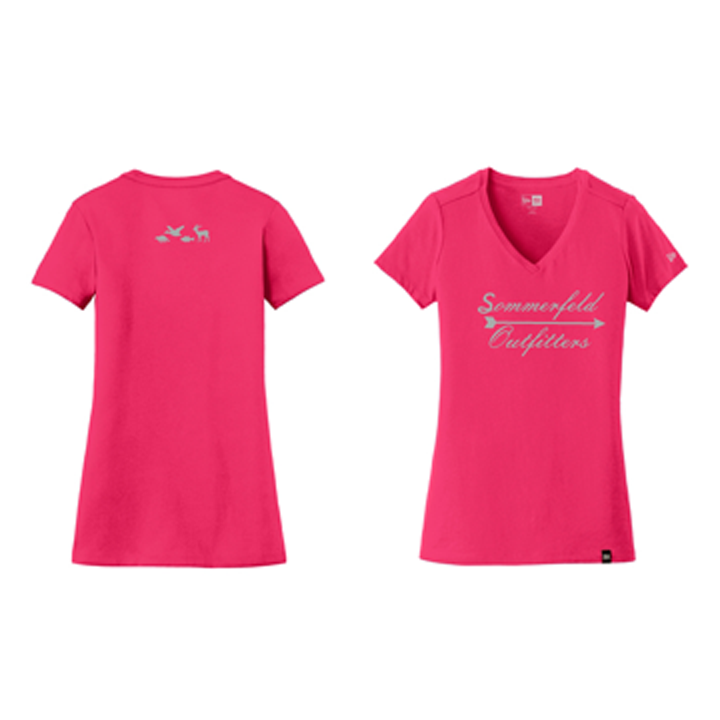 Sommerfeld Outfitters Ladies V-Neck - Pink/Silver